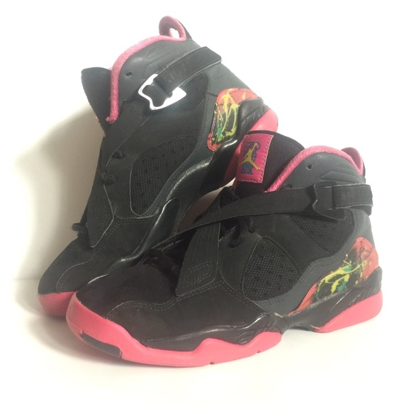 premium selection bf115 c2e86 Jordan • Retro 8's Black & Pink Jordan's Size 6Y